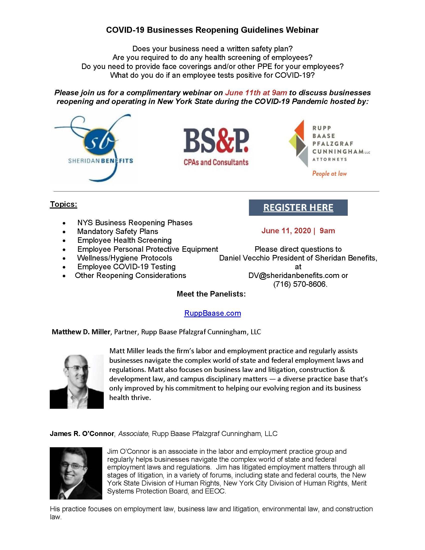 COVID Business Reopening Webinar flyer |  Buffalo, NY | Sheridan Benefits, LLC